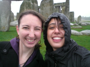 This is us (Lindsey on the left, Sommer on the right) during our trip to Stonehenge and Bath. It was freezing, windy and raining, and our jeans were entirely soaked. And it was one of the best days we've ever had.